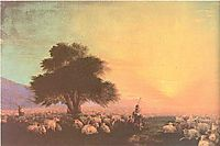 Flock of sheep with herdsmen unset, 1870, aivazovsky