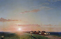 Ox train on the steppe, aivazovsky