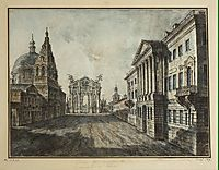 Tverskaya Street and Triumphal Arch in the Strastnaya Square, 1800, alekseyev