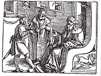 Marquard von Lindau ask and answer the Ten Commandments, 1516, baldung