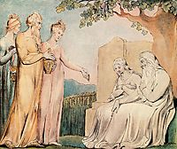 Job accepting Charity, 1825, blake