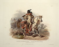 A Blackfoot Indian on Horseback, plate 19 from Volume 1 of -Travels in the Interior of North America-, 1843, bodmer