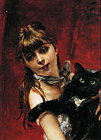 Girl with Black Cat , 1885, boldini