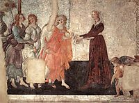Venus and the Three Graces presenting gifts to a young woman, 1484, botticelli