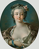 Young Woman with Flowers in Her Hair  wrongly called Portrait of Madame Boucher, c.1734, boucher