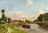 Barges on the canal at Saint-Valery-sur-Somme, 1891, boudin