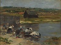 Washers on the edge of the pond, 1880-1885, boudin