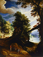 A wooded landscape with a bridge and sportsmen at the edge of the river, 1590, bril