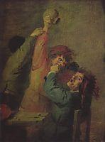 Smallholders playing dice, c.1635, brouwer