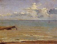 Dieppe End of a Pier and the Sea, 1822, corot