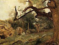 L Arbre Tordu, Les Chenes du Mont Usey, Fontainebleau, c.1855, corot