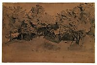Landscape of Royat, study of trees, 1839, corot