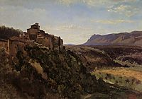 Papigno, Buildings Overlooking the Valley, 1826, corot