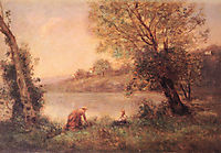 Peasant from Ville d-Avray and her Child among Two Trees at the Bank of a Pond, corot