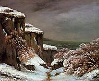 Cliffs by the Sea in the Snow, 1870, courbet