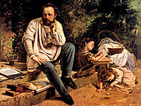 Proudhon and his children, 1865, courbet
