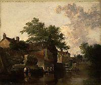 New Mills, Norfolk: Men Wading, 1812, crome