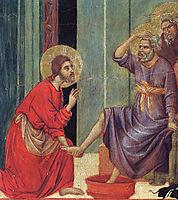 Washing of feet (Fragment), 1311, duccio