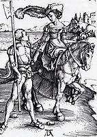 Lady On Horseback and Lansquenet, 1497, durer