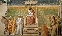Trial by Fire of St. Francis of Assisi before the Sultan of Egypt, c.1320, giotto