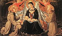 Madonna and Child with St. Francis and the donor Fra Jacopo da Montefalco (left) and St. Bernardino of Siena (right), 1452, gozzoli