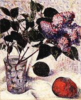 Lilacs in a Glass, Apple and Lemon, 1890, haan