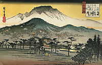 Evening view of a temple in the hills, hiroshige