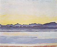 Lake Geneva with Mont Blanc before sunrise, 1918, hodler