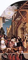 Oberried Altarpiece, left interior wing - The Adoration of the Magi, 1522, holbein