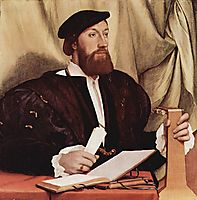 Unknown gentleman with music books and lute, c.1534, holbein