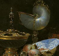 Still Life with Holbein Bowl, Nautilus Cup, Glass Goblet and Fruit Dish (detail), 1678, kalf