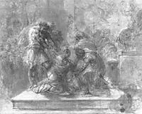 Pagan priests killing the first kiev Christians in the temple of Perun, 1803, kiprensky