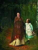 Portrait of Sofia Nikolaevna and Sophia Ivanovna Archaeology wife and daughter of the artist , 1875, kramskoy
