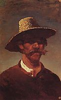 The head of a Ukrainian peasant in a straw hat, c.1895, kuindzhi
