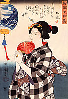 Woman with fan, kuniyoshi