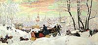 Arriving for Shrovetide, 1916, kustodiev