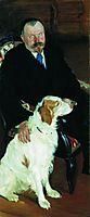 Portrait of Dr. S. Y. Lyubimov with dog, 1905, kustodiev