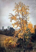 Autumn landscape with church, c.1895, levitan