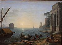 A Seaport at Sunrise, 1674, lorrain