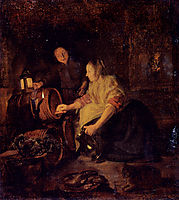 A Woman Drawing Wine from a Barrel, metsu