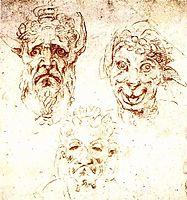 Studies of Grotesques, 1530, michelangelo