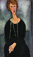 Woman with a Green Necklace (Madame Menier), 1918, modigliani