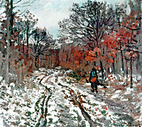 Path through the Forest, Snow Effect, 1870, monet