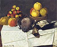 Still life, birds and fruit, 1867, monet