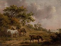 Landscape with Four Horses, morland