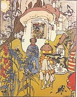 Illustration to the fairy tale -The War of mushrooms-, 1909, narbut