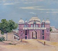 Gate of Rajah-s Palace, Benares, India, 1880, north