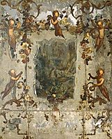 Mirror Decorated with Putti, Flowers and Acanthus Scrolls, nuzzi