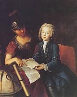 Jean Philippe Baratier presented by Minerva, German scholar, 1735, pesne