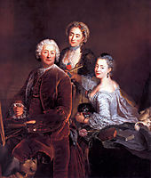 Self-portrait with Daughters, 1754, pesne